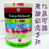 glow in the dark silicone bands - 9pcs Tracy McGrady silicone wristbands T MAC basketball wrist band bracelet environmental Glow in the dark movement bracelets