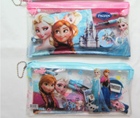 Wholesale Frozen Children s Elsa Anna Pencil Bags Cases Kids learning items stationery set for Students Bag Pencil Eraser Book Sharpener Straightedge