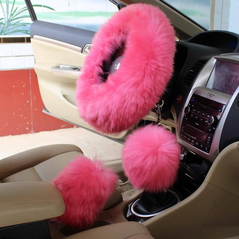 Pink Pure Wool Steering Wheel Cover Car Cover Long Haired