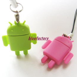 Wholesale Android Robot Micro SD TF USB Memory Card Reader Doll Mobile Phone Strap Chains Writer Multifunction Lover Cute Style
