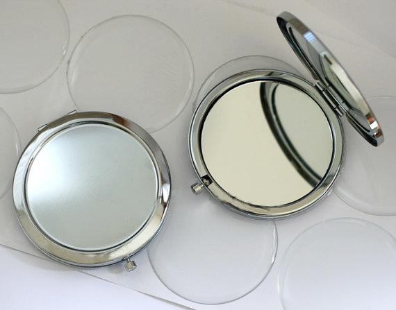 Diy kit blank compact mirror with 58mm epoxy ticker pocket mirror upply make up mirror double ided mirror hipping m070