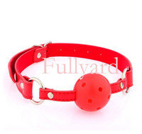 Wholesale Sex toys Breathable Ball Gag with Leather Collar sex toys for couples