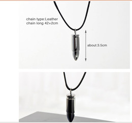 Wholesale New fashion Mix Stainless Steel bullet genuine leather hide rope Necklaces Pendants