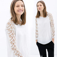 Cheap blusas femininas 2014 Women Blouse Chiffon Lace Hollow Out Pullover Shirt Women blusa renda de manga comprida plus size T48012