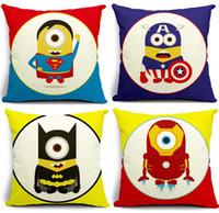 Wholesale Cushion pillow cover top quality cotton linen pillow cover gift sofa pillow case decoration quot Minions Cartoon America Super Hero quot x45cm