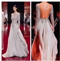 Cheap Wholesale - 2014 Custom Made Fashion Style Elie Saab Lace Appliqued Beaded Long Sleeves Evening dresses Floor length Backless Sheath Column
