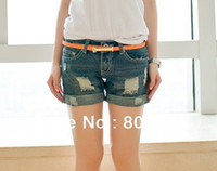 Cheap Free shipping Vintage 2014 Women's Ripped Hole Bleached With Cuffs Hot Sell Denim Short Color blue S-L #02041