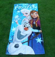 Wholesale 60 cm best new FROZEN Towel Frozen Elsa Anna OLAF cotton towels Baby Shower Towels children beach towel kids bath towel Anti Static