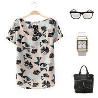 Cheap Free Shipping 2014 Women Blouse European Style Print Chiffon O-neck Flower Pullover Vestidos Women Clothing S,M,L T46015