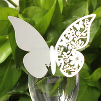 Wholesale 100pcs Butterfly Paper Place Card Escort Card Cup Card Wine Glass Card Paper for Wedding Party Favors