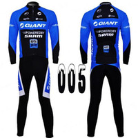Wholesale 2014 Giant POWEREDBY SRAM Long Sleeve Cycling Jersey Sets Quick Dry Jerseys and D Padded Pants Elasticity Outdoor Tight Clothes