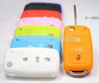Wholesale DHL Silicone Car Key Fob Cover Remote Key case wallet for volkswagen Tiguan middle light muti color