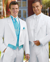 Cheap Men Suits For Wedding White Color Tails Groom Dresses Men Tuxedo Custom-made (jacket+pant+vest)