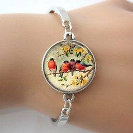 Wholesale Red Robin Bird Glass Tile Bracelets Bangle Plated Antique Silver Round Charm Rhodium Plated Bangles New Design