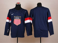 Cheap Wholesale - 2014 Olympic USA Hockey Jersey Navy Blue Field Hockey Jersey Team USA Jerseys Hot Sale Players Sports Jerseys Athletic Apparel M