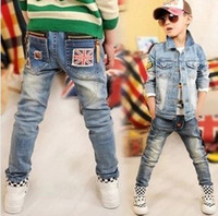 Cheap wholesale Children's Jeans baby Kids pants spring autumn new Clothing Boy's trousers M word zip pockets Leisure fashion jeans feet pants