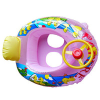 Cheap New Kids Baby Inflatable Swimming laps Pool Swim Ring Seat Float Boat with Wheel Horn Free shipping