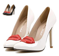Wholesale Sexy Red Lip White Heels Pointed Pumps bridal shoes patent leather black shoes dress shoes colors size to