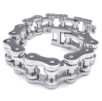 Wholesale 20mm Wide Heavy Shiny Polishing Mens L Stainless Steel Motorcycle Bike Chain Bracelets for Punk Rock Bikers with No MOQ Requirements