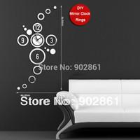Cheap [funlife]- Free Shipping DIY40*80cm (15.7*31.5in) Modern Novelty Fashion Quartz Novelty Home decoration Rings Mirror Wall Clock