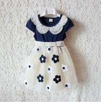 Wholesale Summer kids dress girl short sleeve dress flower lace dress Princess dress Embroidery flower p l