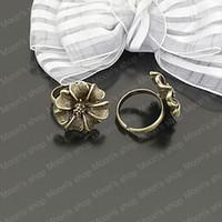 Cheap Wholesale 18mm Antique Bronze flower Copper+alloy Ring settings Findings Accessories 10 pieces(J-M3153)