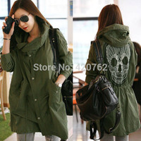 Cheap Plus Size S-XL 2014 New Winter Women Military Punk Lace Skull Print Oversized Hooded Jacket Outwear Coat Clothing Free Shipping