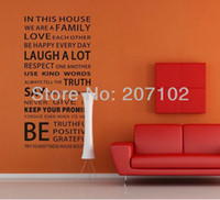 Wholesale 3pcs House Rules Modren Romantic Word Quote Wall Decal Sticker Wall Lettering Wall Art