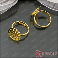 Cheap Free Shipping Wholesale 15mm Adjustable Quality Gold Copper Ring Settings Diy Jewelry Findings Accessories 10 pieces(J-M4213)