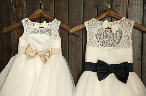 Lace Tulle Flower Girl Dress Keyhole Back Navy Blue Champagne Sash ...