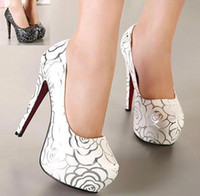 Cheap New Silver florid printed platform pumps bride shoes sexy women high heel pumps prom gown dress shoes 2 colors size 34 to 39