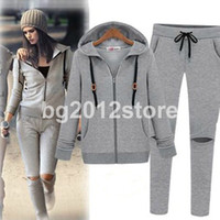 Cheap Hot 2014 Gray 2pcs Set Hoodies + Pants New fashion Women Sport Suits Long Sleeve Tracksuit Sports Casual Clothes Free Shipping