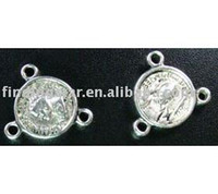 Wholesale Tibetan silver round to connectors A1118