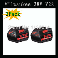 Wholesale 2X Milwaukee V28 V Ah tool lithium battery for cordless power tools used