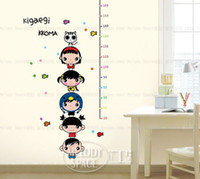 Cheap Free shipping Home decor bedroom kids height Measure gauge Catoon decorate Wall sticker #H0131