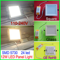 Wholesale 12W led Panel Light SMD Leds Recessed Downlights Square glass ceiling light White Warm white AC100 V LED spotlight With CE ROHS