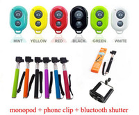 Wholesale Free Adjustable CameraTripod Self Portrait Monopod Phone Holder Bluetooth Remote Shutter For iPhone Android HTC Digital Cameral DHL FEDEX
