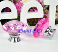 Cheap New 6Pcs 40mm Crystal Glass Door Knob Drawer Cupboard Pull Handle Pink EH7E TK0981
