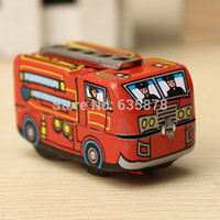 Cheap Vintage Classic Firefighter Fire Engine Truck Clockwork Wind Up Tin Toys Perfect Gift For Children And Collection Free Shipping
