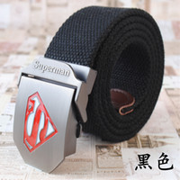 Wholesale Military Fashion Stripe Style Canvas Belt with Superman Embossed Logo Buckle Boy s Kids Belt Colors cm Lenth