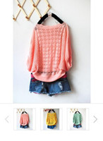 Cheap Women Round Neckline Batwing Short Casual Loose Blouse Hollow Out Hole Pullover Jumpers Knitwear Sweater Tops