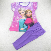 Cheap Retail 1 set Comfortable Baby Girls Summer Sleepwear Frozen Series Pajamas Girls Shortsleeved Pyjamas