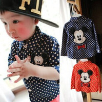 Wholesale 2014 Autumn Baby s Blouse Polk Dot Cute Cartoon Mickey Long Sleeve Boys Girls Shirts Pure Cotton Infants Children s Clothing Red Blue J1323