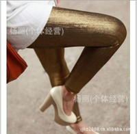 gold leggings - New Style Women Leggings Gold Silver Black Solid Color Shining Noble Leggings China Supplier