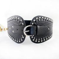 elastic stretch belt - 2014 New Fashion Elastic Stretch Belt For Lady PU Leather Pin Buckle Wide Belt For Women