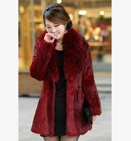 Wholesale 2014 Elegent Fashion New Womens Lady Winter Warm Faux Fox Wool Fur Collar Coat Faux Fur Jacket Long Thicken Trench Coats Outwear Overcoat