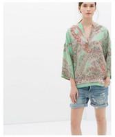 Cheap 2014 fashion summer new European style Women's clothing Cashew printing Three Quarter bat sleeve loose kimono blouses#LY366