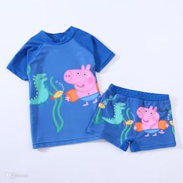 Wholesale 2014 Peppa pig George Pig boy boys SUV sun protection anti uv swimwear bather t shirt short sets sets C10
