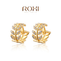 Wholesale ROXI K gold Willow Grain earrings Genuine Austrian Crystals silver earring for women birthday gift Diamond earring