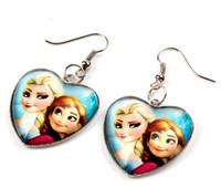 Wholesale Frozen Earrings Elsa Anna Heart Dangle Chandelier Earrings Women Children Girl Charm cartoon glass Pendant hook Earrings COSPLAY Movie props